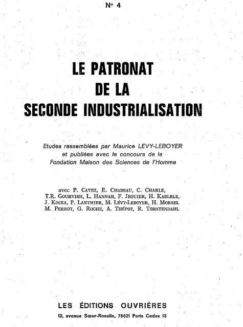 Le patronat de la seconde industrialisation