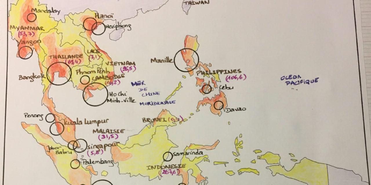 Les densités de population en Asie du Sud-Est